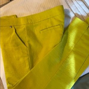 Trina Turk chartreuse pants. Size 10. Barely worn